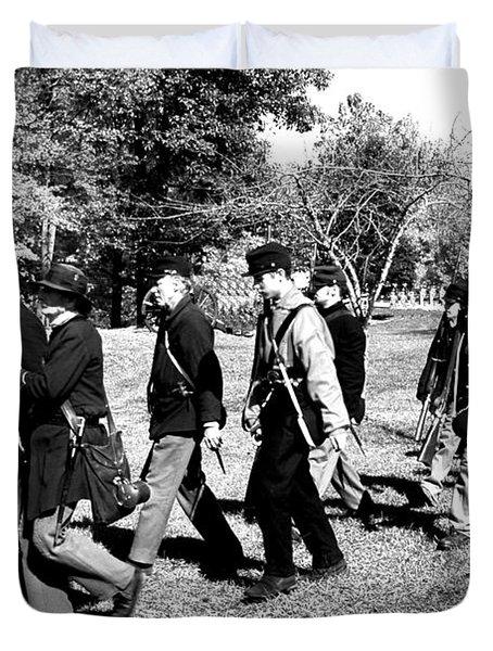 Soldiers March Black and White II Duvet Cover by LeeAnn McLaneGoetz McLaneGoetzStudioLLCcom