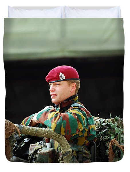Soldiers Of A Belgian Recce Or Scout Duvet Cover by Luc De Jaeger