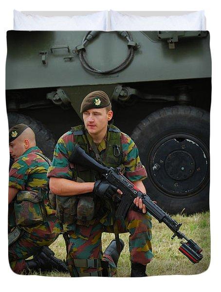 Soldiers Of An Infantry Unit Duvet Cover by Luc De Jaeger
