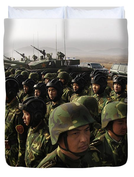 Soldiers With The Peoples Liberation Duvet Cover by Stocktrek Images