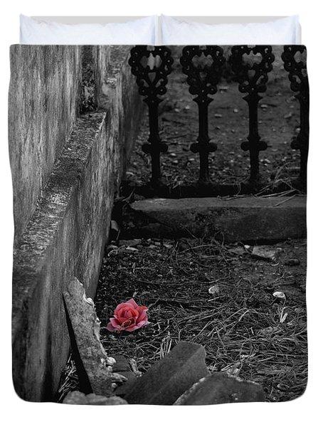 Solitary Rose Duvet Cover by Renee Barnes