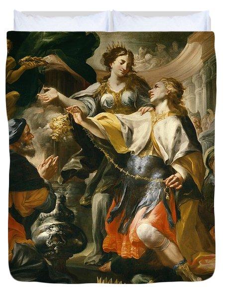 Solomon Worshiping The Pagan Gods Duvet Cover by Domenico Antonio Vaccaro