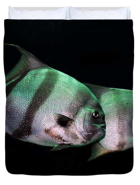 Something Fishy This Way Comes Duvet Cover by Lois Bryan