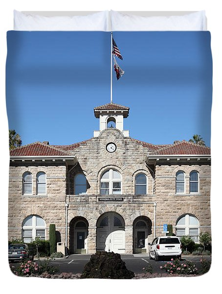 Sonoma City Hall - Downtown Sonoma California - 5d19260 Duvet Cover by Wingsdomain Art and Photography