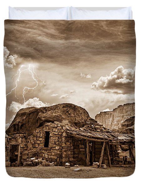 Southwest Indian Rock House and Lightning Striking Duvet Cover by James BO  Insogna