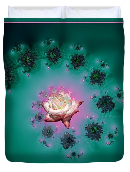 Spiral To A Rose Fractal 140 Duvet Cover by Rose Santuci-Sofranko