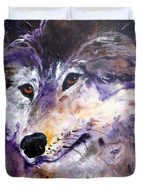 Spirit Wolf Duvet Cover by Sherry Shipley
