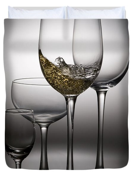 Splashing Wine In Wine Glasses Duvet Cover by Setsiri Silapasuwanchai