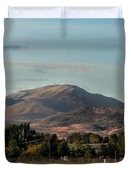 Sport Complex And The Butte Duvet Cover by Robert Bales