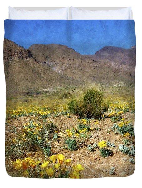 Spring Bloom Franklin Mountains Duvet Cover by Kurt Van Wagner