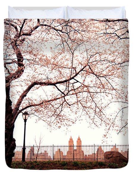 Spring Cherry Blossoms - Central Park Reservoir Duvet Cover by Vivienne Gucwa