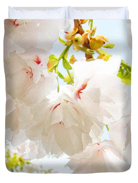 Spring White Pink Tree Flower Blossoms Duvet Cover by Baslee Troutman