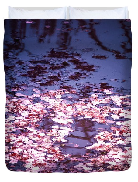 Spring's Embers - Cherry Blossom Petals On The Surface Of A Pond Duvet Cover by Vivienne Gucwa