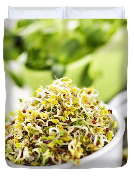 Sprouts in cups Duvet Cover by Elena Elisseeva