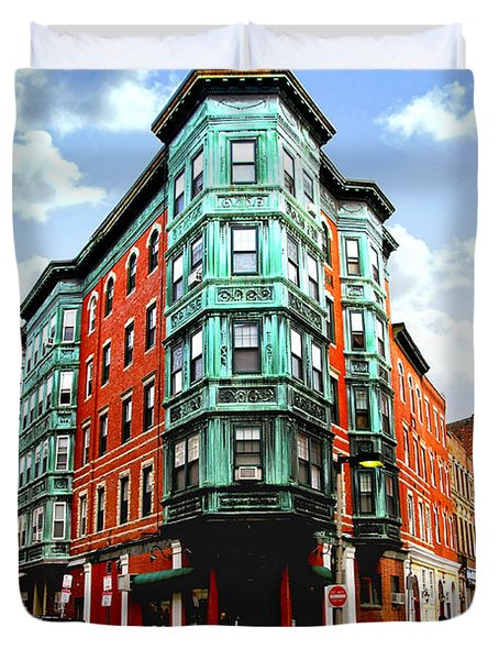 Square in old Boston Duvet Cover by Elena Elisseeva