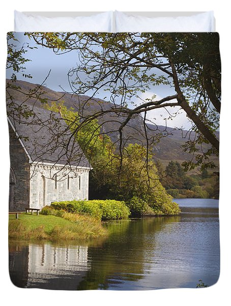 St. Finbarres Oratory On Shore Duvet Cover by Ken Welsh