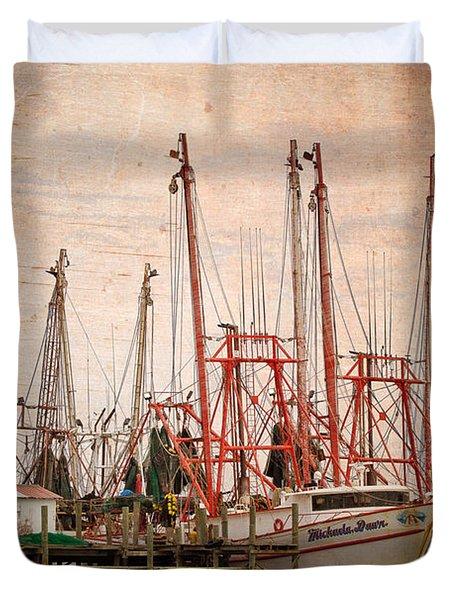 St John's Shrimping Duvet Cover by Debra and Dave Vanderlaan