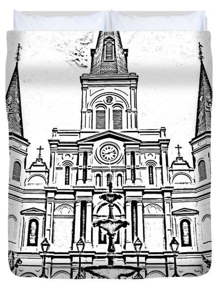 St Louis Cathedral And Fountain Jackson Square French Quarter New Orleans Photocopy Digital Art Duvet Cover by Shawn O'Brien