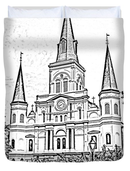 St Louis Cathedral Jackson Square French Quarter New Orleans Photocopy Digital Duvet Cover by Shawn O'Brien
