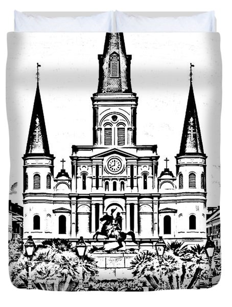 St Louis Cathedral on Jackson Square in the French Quarter New Orleans Photocopy Digital Art Duvet Cover by Shawn O'Brien