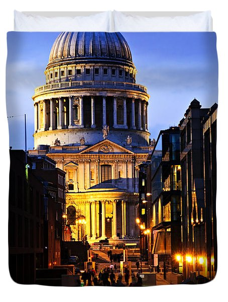 St. Paul's Cathedral from Millennium Bridge Duvet Cover by Elena Elisseeva