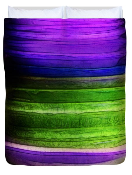 Stack Of Saucers Duvet Cover by Judi Bagwell
