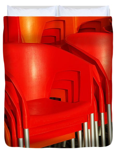 Stacked Chairs Duvet Cover by Carlos Caetano