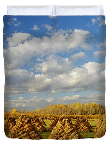 Stacked Hay Bales In Field, Selkirk Duvet Cover by Dave Reede