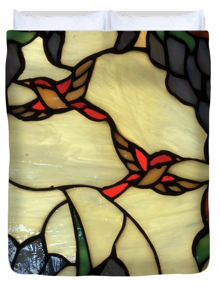 Stained Glass Humming Bird Vertical Window Duvet Cover by Thomas Woolworth