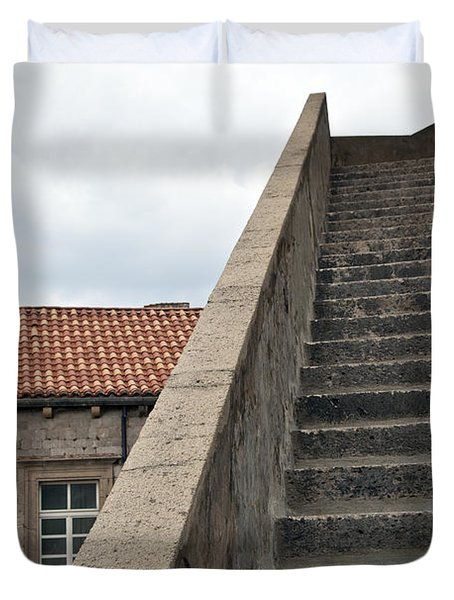 Stairway in Dubrovnik Duvet Cover by Madeline Ellis