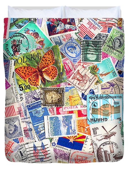 Stamp Collection . 2 To 1 Proportion Duvet Cover by Wingsdomain Art and Photography
