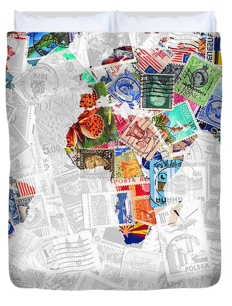 Stamps Of The World Map . V2 Duvet Cover by Wingsdomain Art and Photography