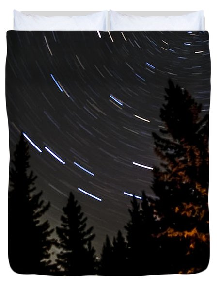 Star Trails Above Spruce Tree Line Duvet Cover by Darcy Michaelchuk