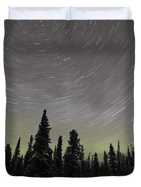 Star Trails, Milky Way And Green Aurora Duvet Cover by Yuichi Takasaka