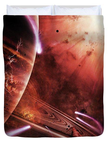 Starships Hone Their Skills Duvet Cover by Brian Christensen