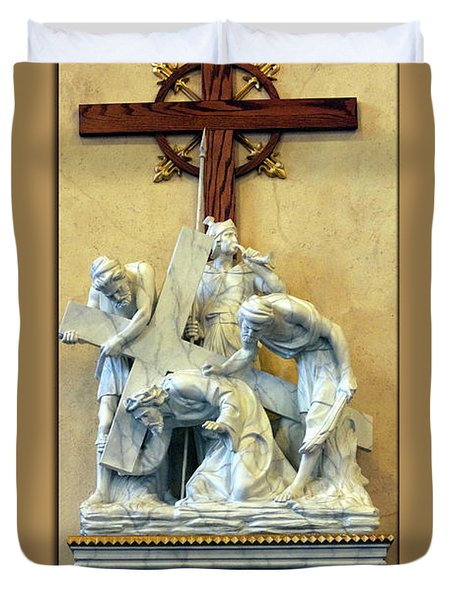 Station Of The Cross 03 Duvet Cover by Thomas Woolworth
