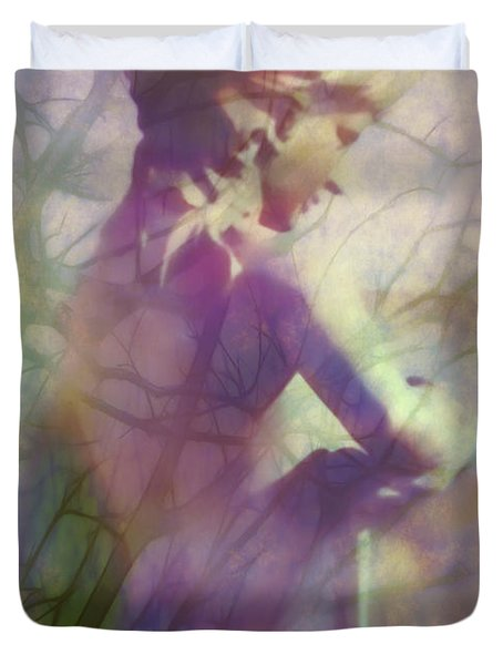Statue in the Garden Duvet Cover by Judi Bagwell