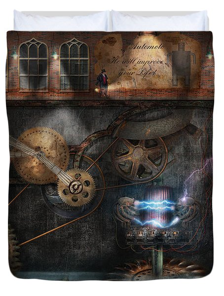 Steampunk - Industrial Society Duvet Cover by Mike Savad