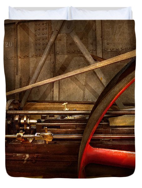 Steampunk - Machine - The wheel works Duvet Cover by Mike Savad
