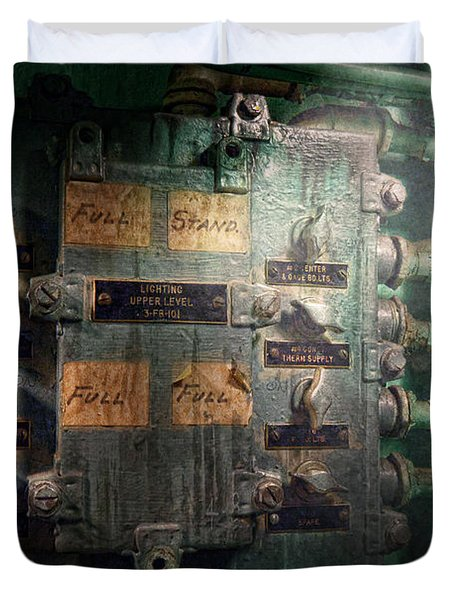 Steampunk - Naval - Electric - Lighting Control Panel Duvet Cover by Mike Savad