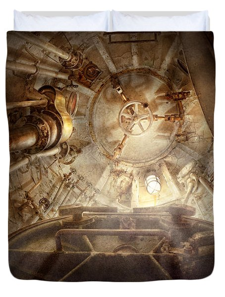 Steampunk - Naval - The Escape Hatch Duvet Cover by Mike Savad