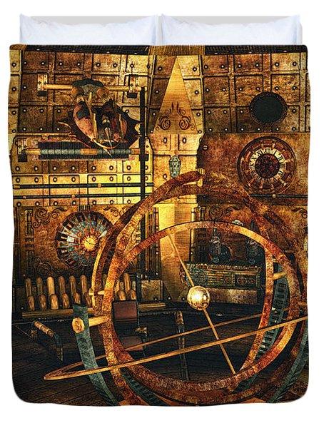 Steampunk Time Lab Duvet Cover by Jutta Maria Pusl