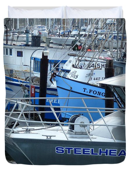 Steelhead and Fishing Boats Duvet Cover by Jeff Lowe