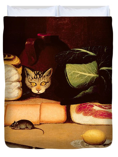 Still Life With Cat And Mouse Duvet Cover by Anonymous