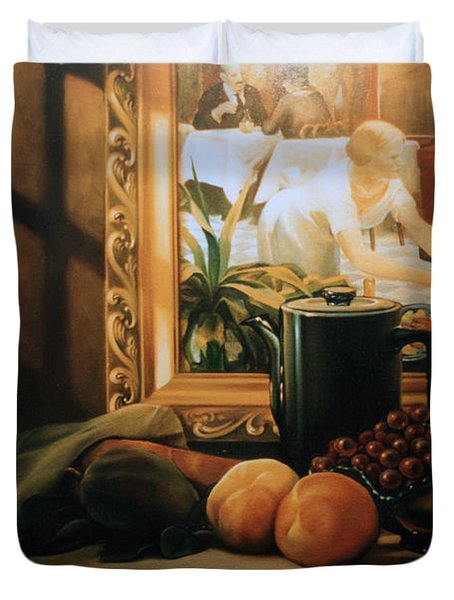 Still Life With Hopper Duvet Cover by Patrick Anthony Pierson