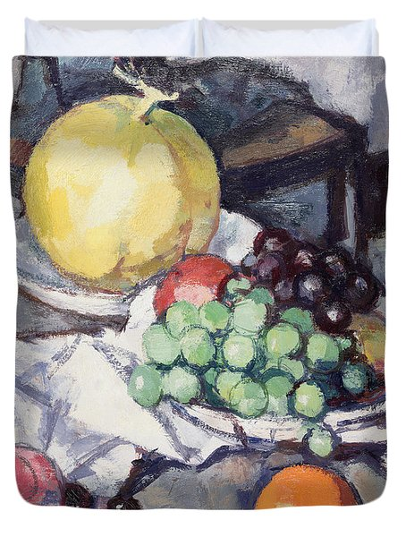 Still Life With Melons And Grapes Duvet Cover by Samuel John Peploe