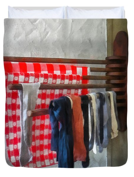 Stockings Hanging To Dry Duvet Cover by Susan Savad