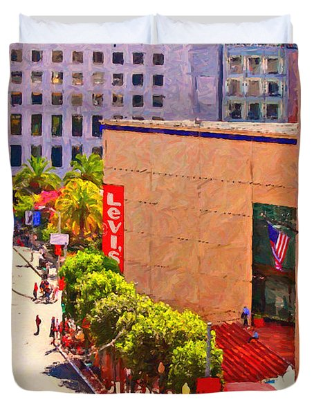 Stockton Street San Francisco Towards Union Square Duvet Cover by Wingsdomain Art and Photography