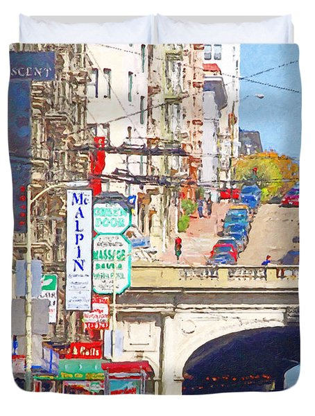 Stockton Street Tunnel in San Francisco . 7D7355 Duvet Cover by Wingsdomain Art and Photography