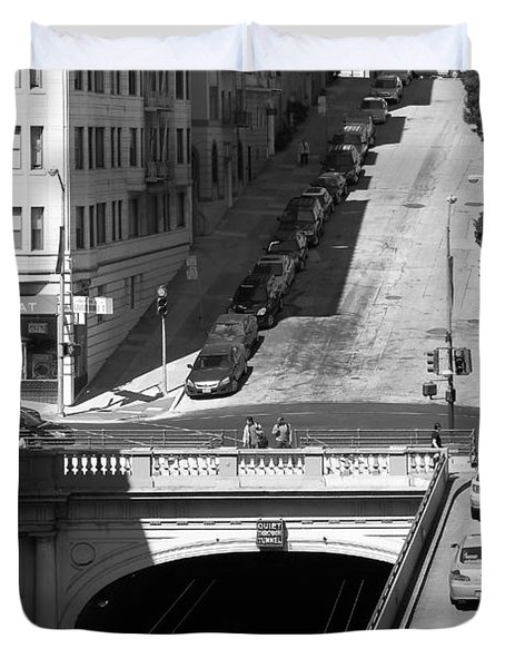 Stockton Street Tunnel Midday Late Summer in San Francisco . Black and White Photograph 7D7499 Duvet Cover by Wingsdomain Art and Photography